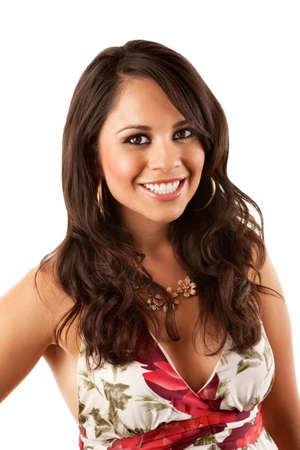 Pretty Hispanic Woman in Flowery Dress on White Background