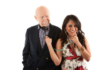 mismatch: Rich elderly man with Hispanic gold-digger companion or wife