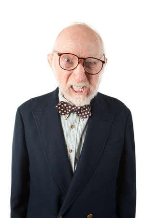 obnoxious: Obnoxious Senior Man with Bow Tie on White Background