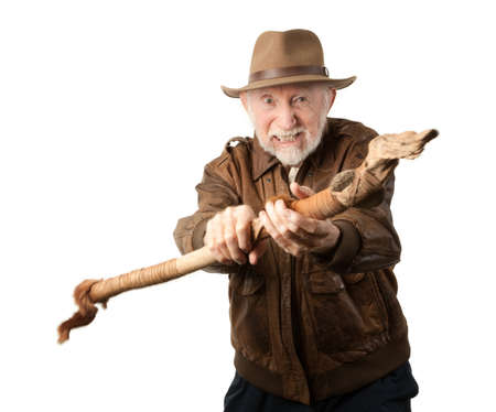 archaeologist: Adventurer or archaeologist in brown leather jacket defending himself with abcient weapon