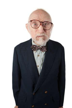 Obnoxious Senior Man with Bow Tie on White Background photo