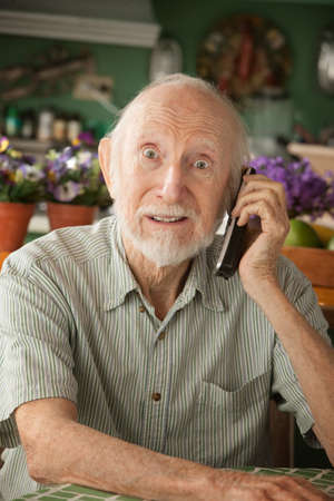 Senior man at home on the telephone photo