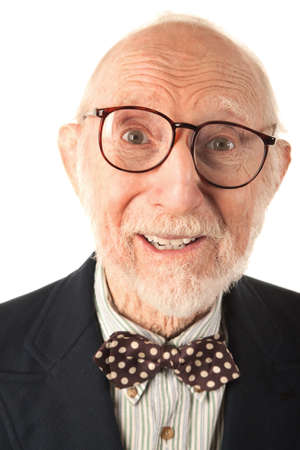 Expressive Senior Man with Bow Tie on White Background Stock Photo - 8251874