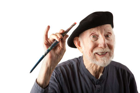 cowboy beard: Eccentric senior artist with brushes wearing a beret