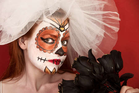 pranks: Red-haired bride with black roses and All Souls Day makeup