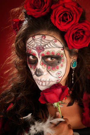 black woman: Sexy lady with red roses on Day of the Dead