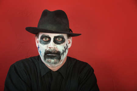 Man with face covered in makeup for All Saints Day. Stock Photo - 8575410