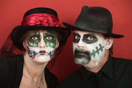 oldman: Couples wearing All Souls Day Black costume Stock Photo