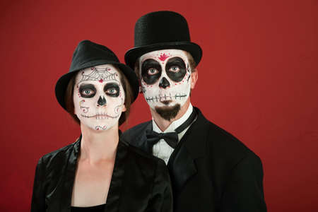 Classic Vintage Couple Pose in Day of the Dead Makeup