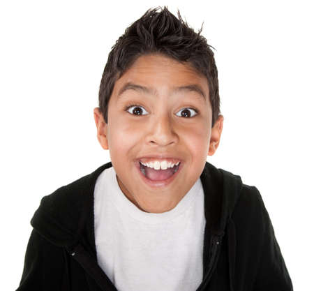 latinos: Cute boy with a smile on a white background