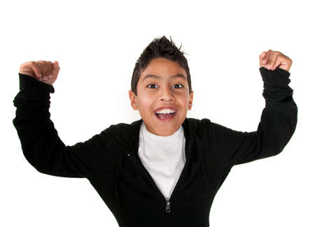 muscle boy: Cute Latino boy smiles with raised arms