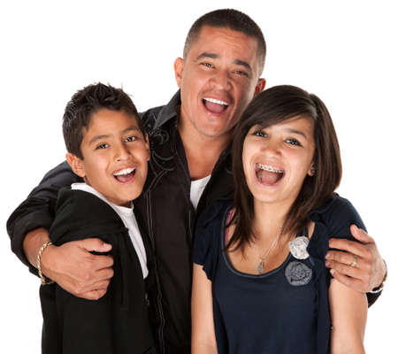 Native American father holding his children and laughing on white background Stock Photo