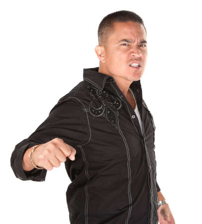 enraged: Enraged Hispanic man with fist on white background