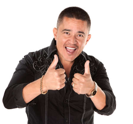 Happy Mexican-American man cheers with thumbs up photo