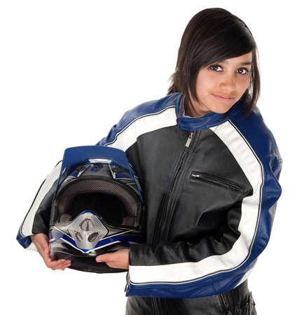 motorrad frau: Cute Teen Hispanic Racer Girl in Anzug und mit Helm in der hand