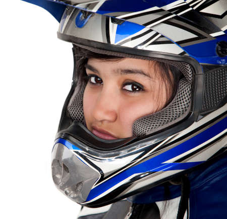 Cute Mexican-American racer girl on white background