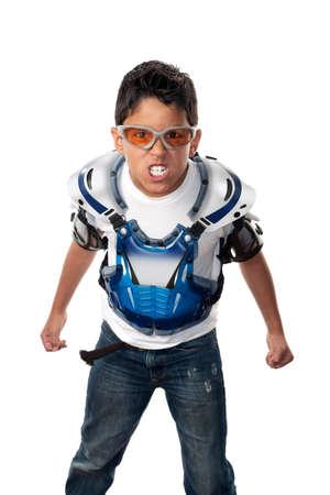 motorcross: Joven enojado arrasa en motocross gear Foto de archivo
