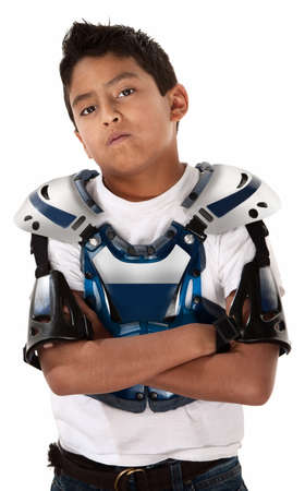 jock: Young Mexican-American boy ready for a motorcross race