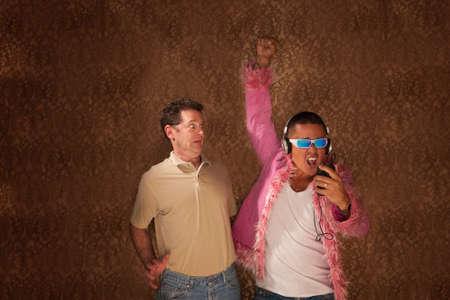 Frightened man next to a strangely dressed neighbor photo