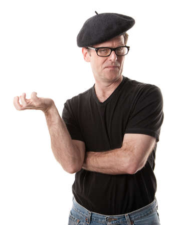 nothing: Man in beret holding nothing on a white background
