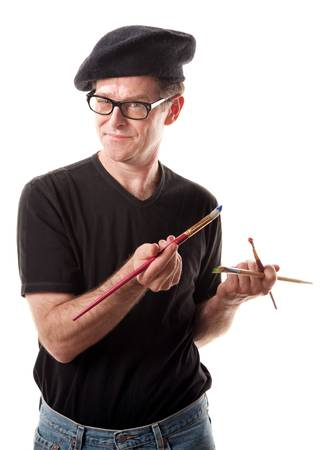 anal: Artist with primary colors brushes and beret