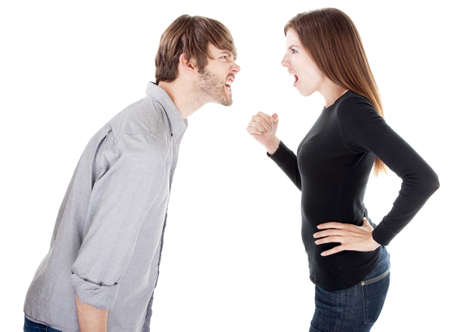 grunt: Good looking couple on white background arguing