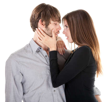 Young Caucasian couple close together before a kiss