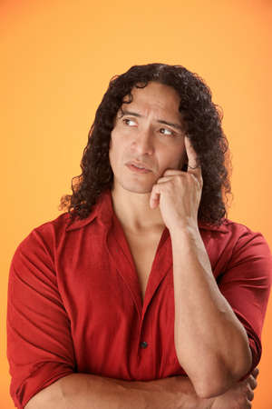 Muscular Hispanic man trying to remember something Stock Photo - 8925161