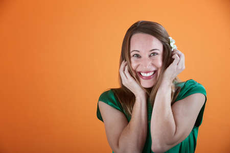Young Caucasian woman cannot hide her excitement Stock Photo - 8924136