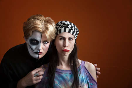Two young women with scary makeup for All Souls Day