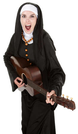 obnoxious: Ethustiatic Nun singing out loud while playing a guitar
