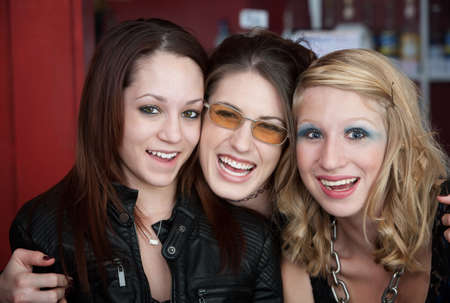 sorority: Group of friends having a good time at the coffeehouse Stock Photo