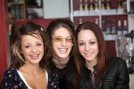 sorority: Three young women who are best of friends Stock Photo