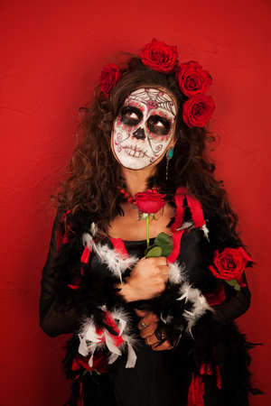 Young woman dressed scarily for All Souls Day