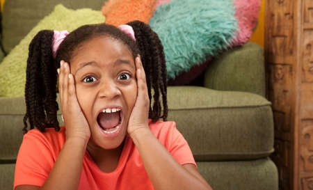 africanamerican: Scared African American girl in a room
