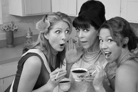 affairs: Three shocked women smoking and having coffee
