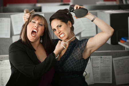 crazy woman: Two woman office workers quarreling in cubicle Stock Photo