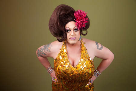 Serious large drag queen with hands on hips Stock Photo - 9738688