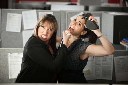 violence in the workplace: Two female office workers fight in a cubicle