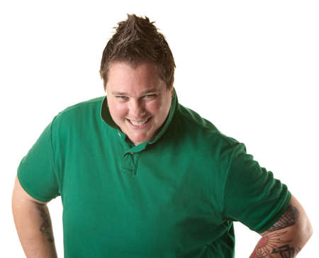 butch: Happy chubby Caucasian woman smiles over white background