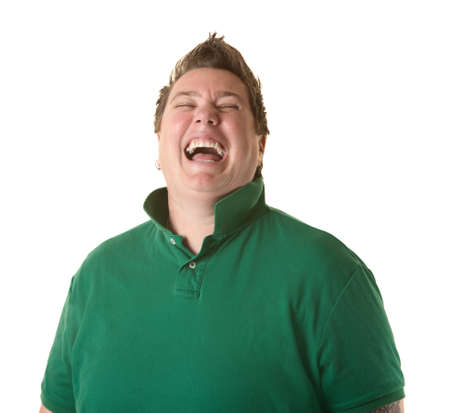 Plump Caucasian woman laughs out loud over white background photo