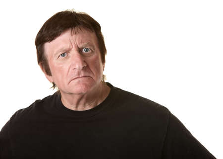 cautious: Suspicious mature Caucasian man over white background