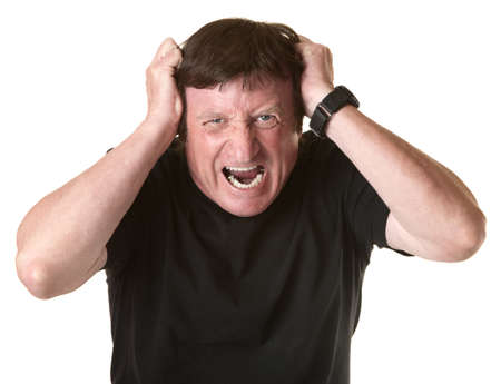 pulling: Mature Caucasian man screams in frustration over white background