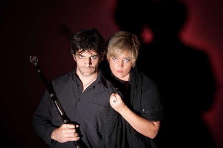 sceptre: Wizard with sceptre and his female companion