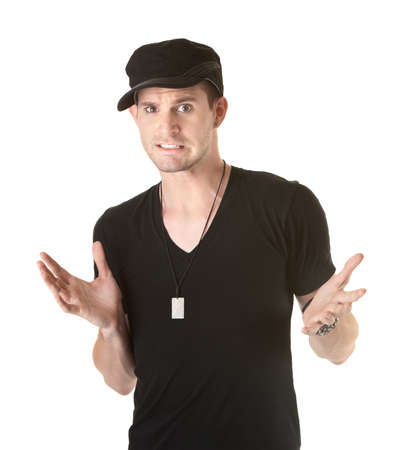 contradict: Innocent handsome Caucasian man with open hands Stock Photo