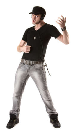 Handsome young Caucasian man plays air guitar over white background photo