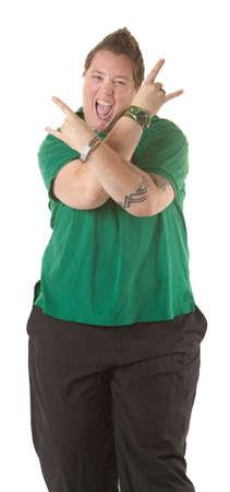 lesbianas: Chubby jóvenes caucásicos con el signo de la mano sobre fondo blanco Foto de archivo