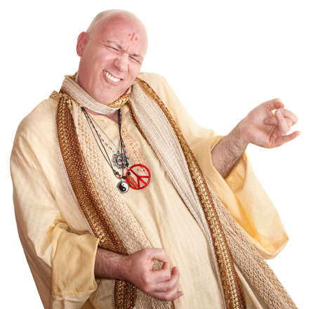 Crazy monk plays air guitar over white background photo
