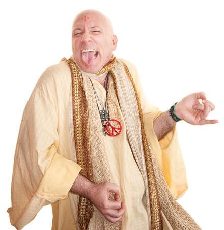Crazy bald guru plays air guitar over white background photo