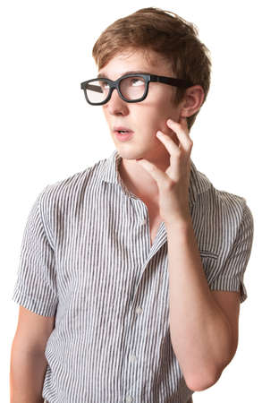 duh: Young Caucasian man with hand on face stares up